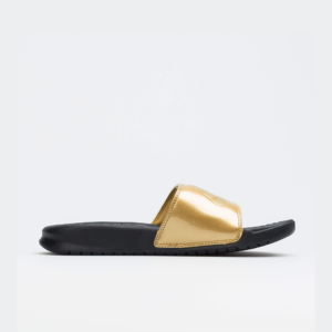 Nike Benassi JDI Print Slide Black/Metallic Gold Womens